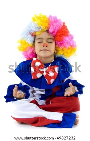Child as Clown practicing meditation on white background - stock photo