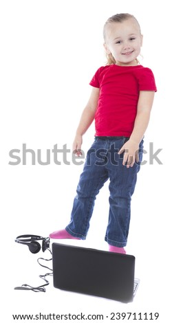 child at the computer on a white background - stock photo