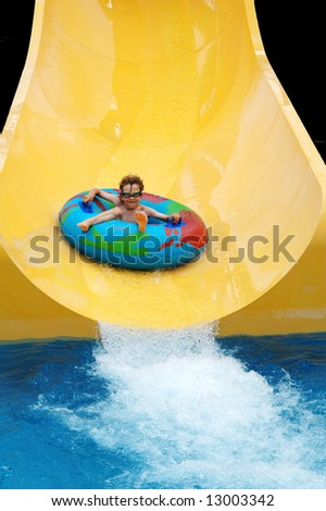 child at water park - stock photo