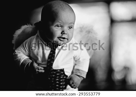 child baby black and white portrait - stock photo