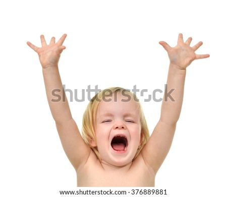 Child baby toddler happy looking up yelling screaming with open hand up isolated on a white background - stock photo