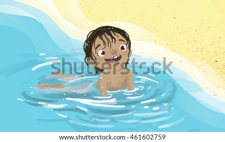 Child bathing beach on the shore