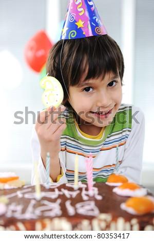Child birthday, 6 years old - stock photo