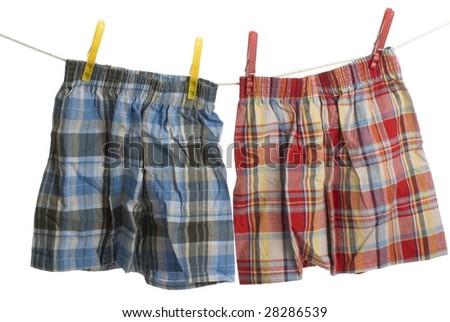 Child boxer shorts on laundry line - stock photo