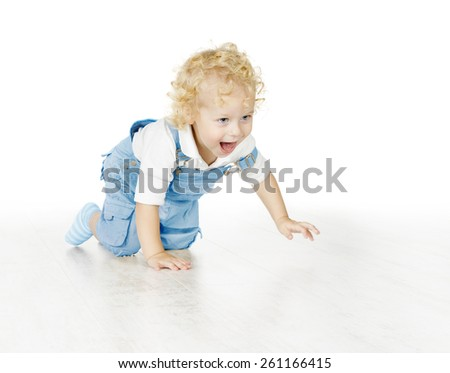 Child Boy Crawling Isolated Over White Background, Happy Little Kid Portrait - stock photo