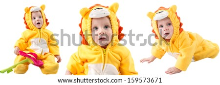 Child boy,dressed in lion carnival suit, isolated on white background. Baby zodiac - sign Leo. The concept of childhood and holiday - stock photo