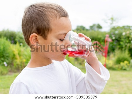 Child boy drinking homemade lemonade or juice in the garden