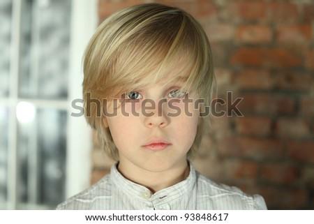 Child boy - face close-up - stock photo