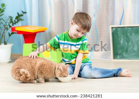 child boy feeding red cat at home - stock photo