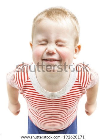 Child boy funny smiling and narrow closed eyes, happy baby dreaming wishes, isolated over white background - stock photo