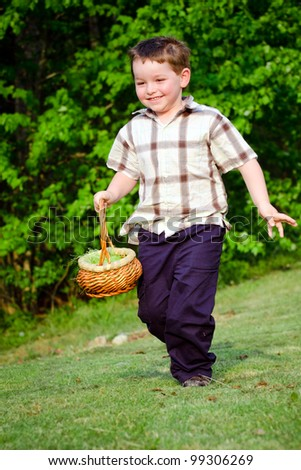 Child Boy kid running with Easter Basket while on Easter Egg hunt