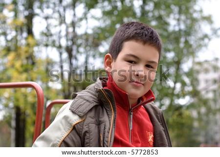 child boy outdoor - stock photo
