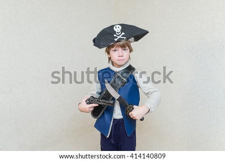 child boy playing pirate. - stock photo