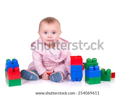 child boy playing with block toys over  isolated on white background. - stock photo