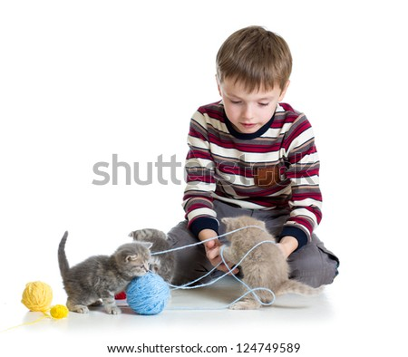 child boy playing with kittens isolated on white background - stock photo