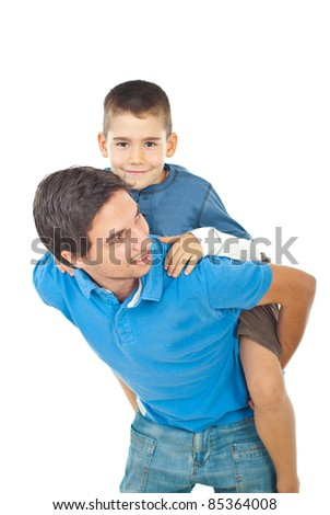 Child boy riding father back and having fun together isolated on white background - stock photo