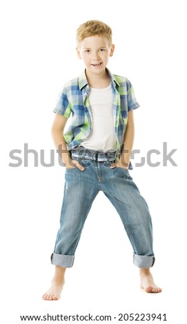 Child boy smiling fashion studio portrait, hands in pocket. Isolated white background  - stock photo