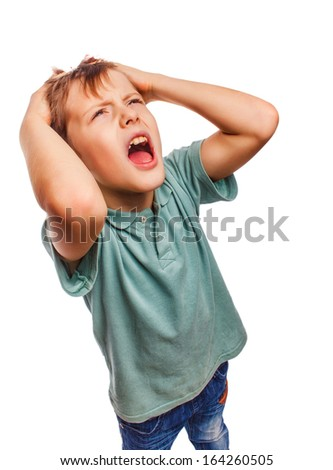 child boy upset angry shout produces evil face portrait isolated