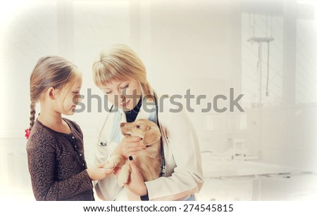 child brought a pet on reception to vet  - stock photo