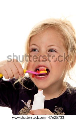 Child brushing my teeth. Dental hygiene and cleaning.