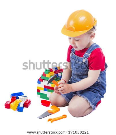 child builder on a white background - stock photo