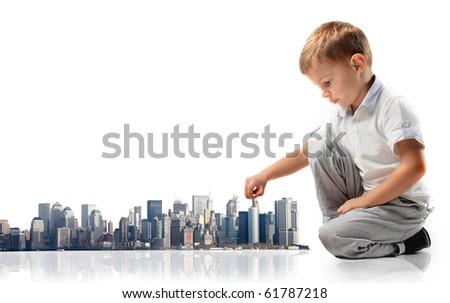 Child building a city - stock photo