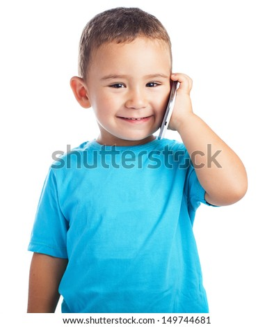 child calling by mobile with a white background - stock photo