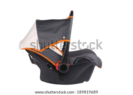 Child car seat. Isolated on a white background. - stock photo