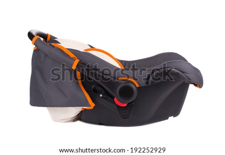 Child car seat side view. Isolated on a white background. - stock photo
