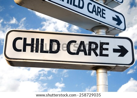 Child Care direction sign on sky background - stock photo