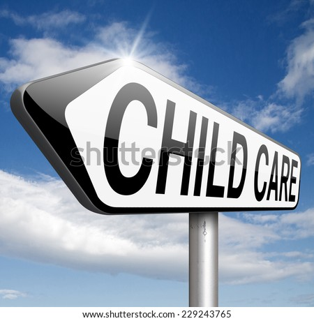 child care or daycare center sign  - stock photo