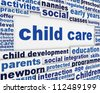 Child care poster design. Child development educational message background - stock photo