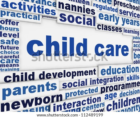 Child care poster design. Child development educational message background