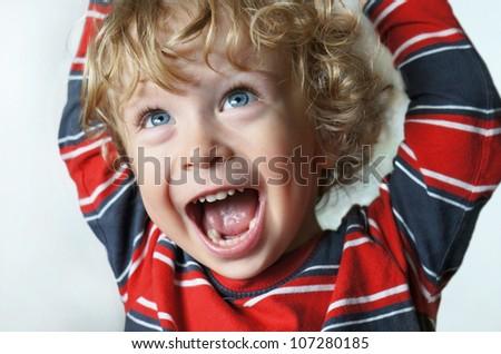 Child cheering - stock photo