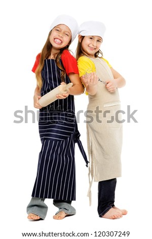 child chef girl cooks friends playing kitchen together having fun isolated on white background. - stock photo