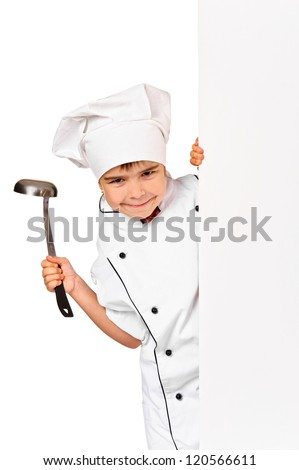 child chef in white uniform and hat hiding behind empty board. Isolated - stock photo
