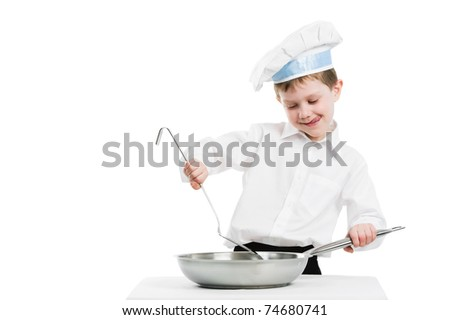 child chef in white uniform and hat with frying pan isolated - stock photo