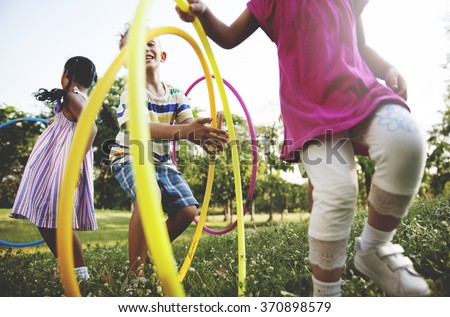 Child Children Childhood Hula Hoop Hooping Kids Concept - stock photo