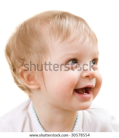 Child close-up face portrait isolated on white