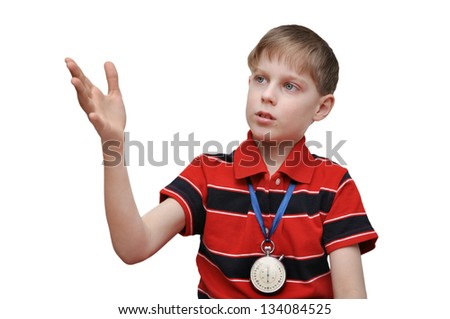 Child-coach trains the team - stock photo