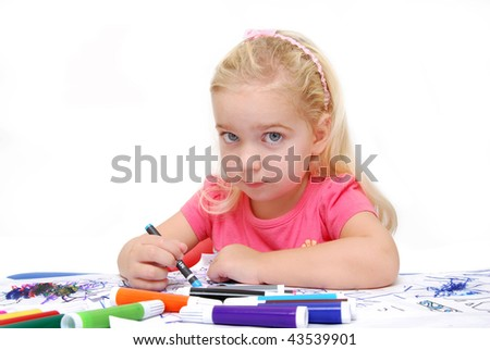 child coloring on paper - stock photo