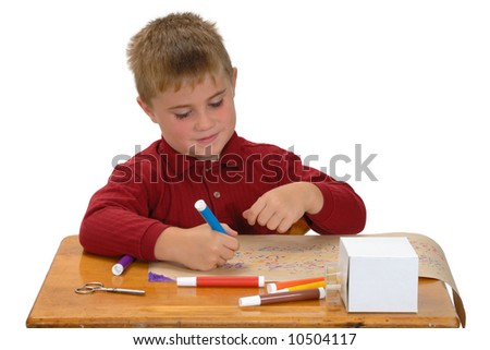 Child coloring paper for gift - stock photo