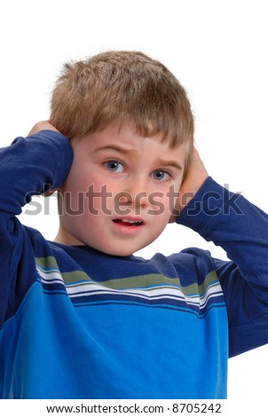 Child covering  his ears, isolated on white