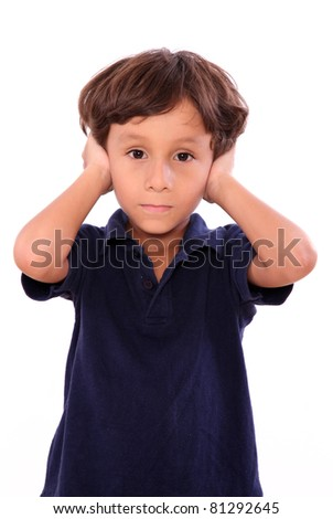 child covering his ears with blue blouse isolated over white background