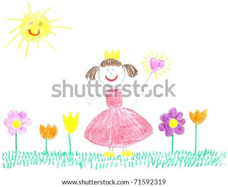 Child crayon drawing of beautiful day and princess girl â?? drawn by myself - stock photo