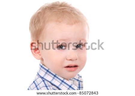 child crying over white background close up portrait - stock photo