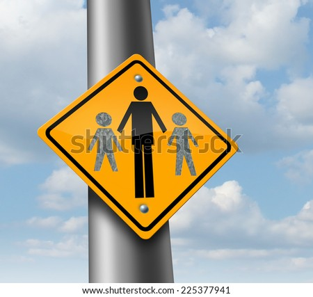Child custody loss concept as a traffic sign with a father and two of his missing children as a family law symbol of social issues caused by divorce and separation.