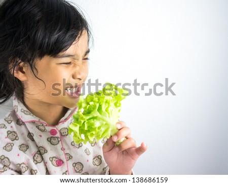 child dislike vegetable - stock photo