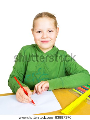 child draw with colorful pencils, isolated over white