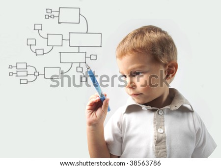 child drawing business graphic